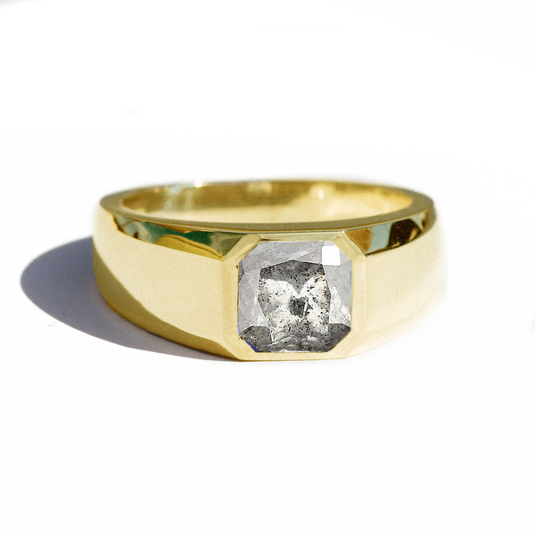 Salt and Pepper Asscher Cut Diamond Ring