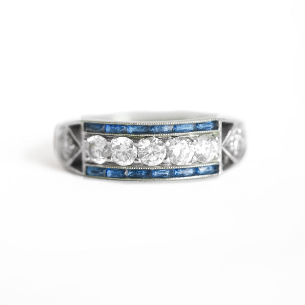 Art Deco Five Diamond Ring with French Cut Sapphires