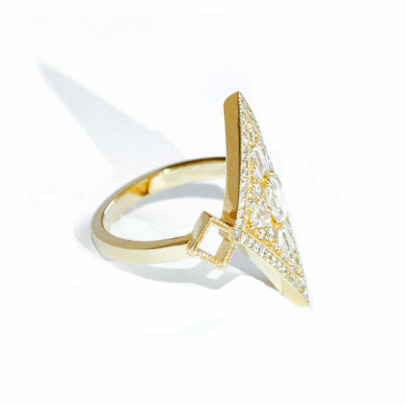 Kite Shape Rose Cut Diamond Mosaic Ring