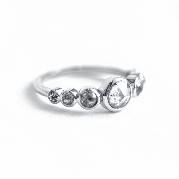 Rose Cut Salt and Pepper Diamond Ring