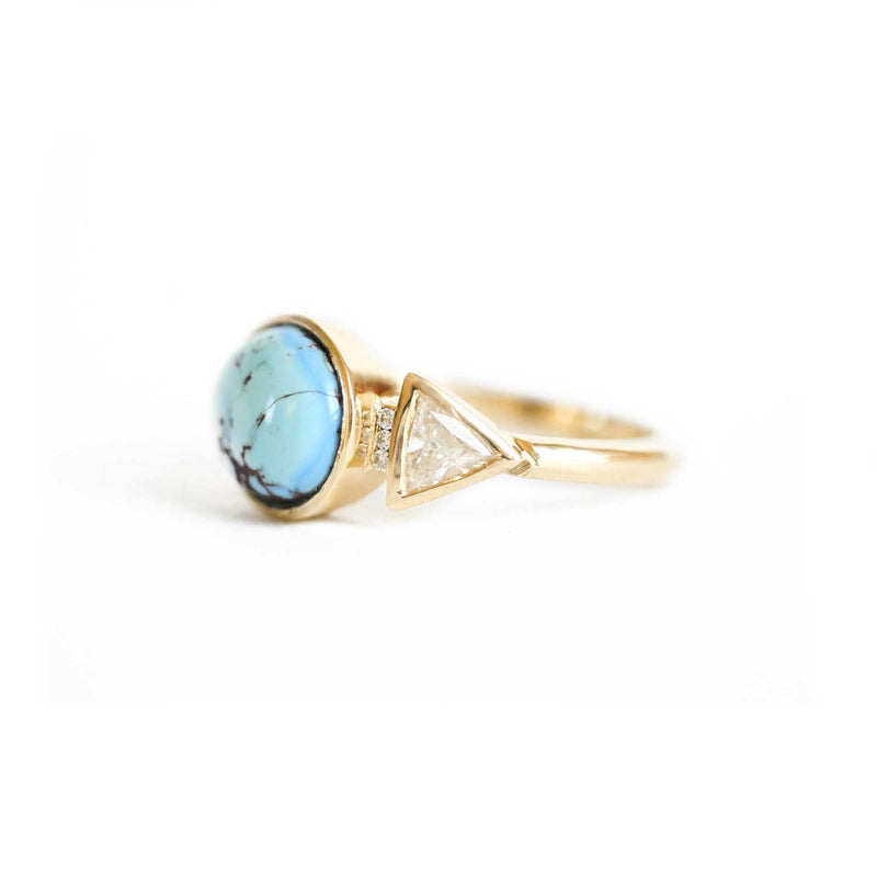 Turquoise & Trillion Diamond Ring