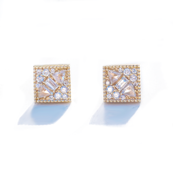 Square Rose Cut Diamond Mosaic Stud Earrings