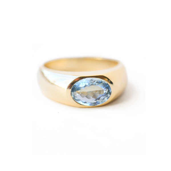 Oval Aquamarine Gold Signet Ring