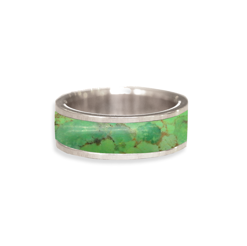 Green Mojave Turquoise Inlay Wedding Ring