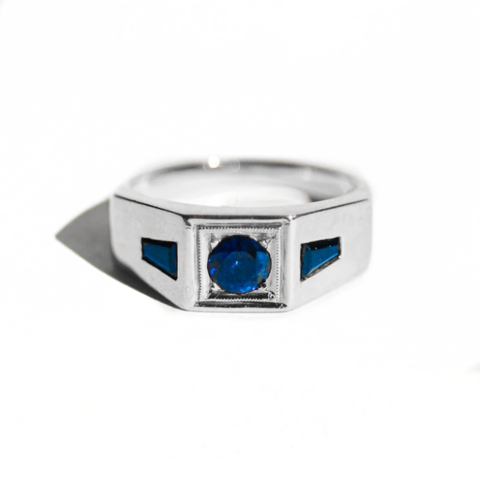 Deco Sapphire Men's Engagement Ring