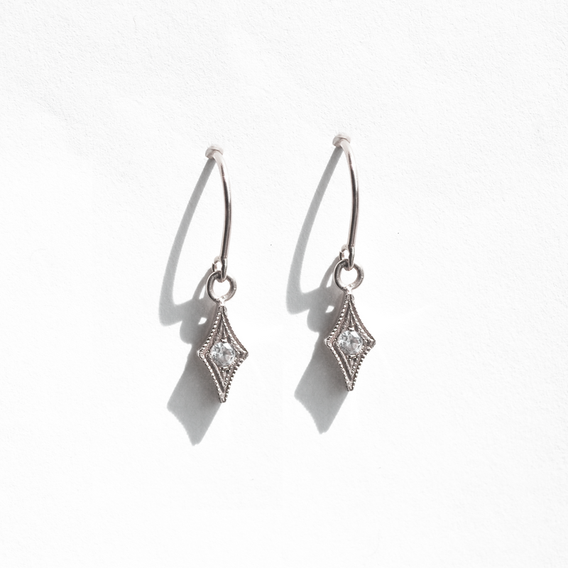 Gold Diamond Shape Drop Earring