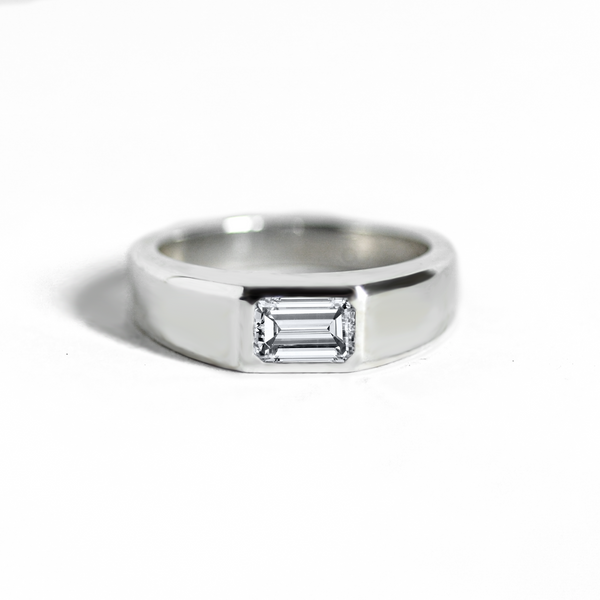 Emerald-Cut Moissanite Signet Ring