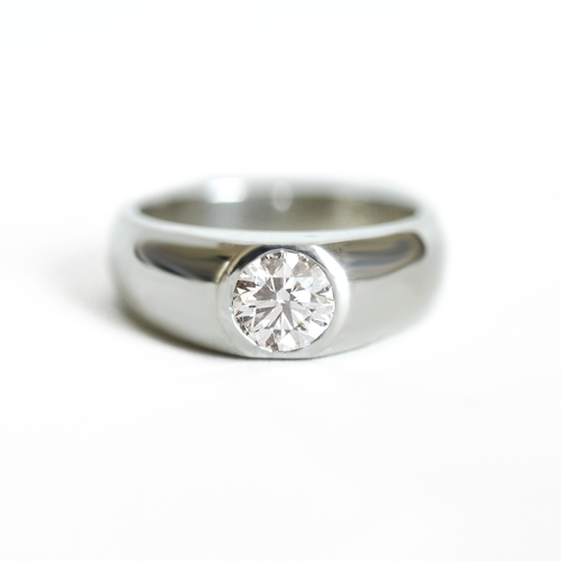 Round Brilliant Diamond Signet Ring