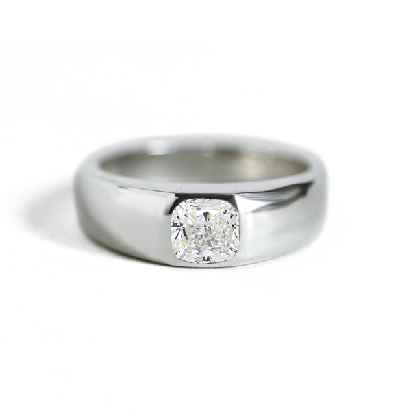 Cushion Moissanite Signet Ring