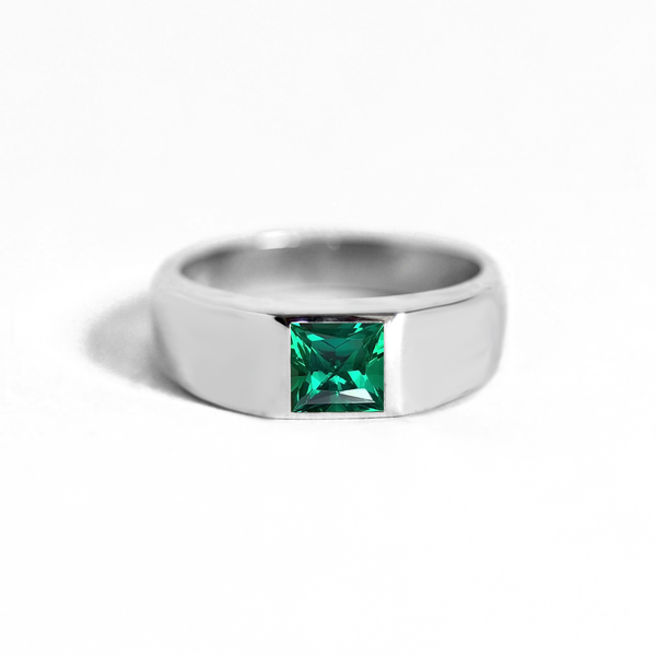 Princess Cut Emerald Signet Ring