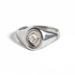 Oval Deco White Sapphire Ring