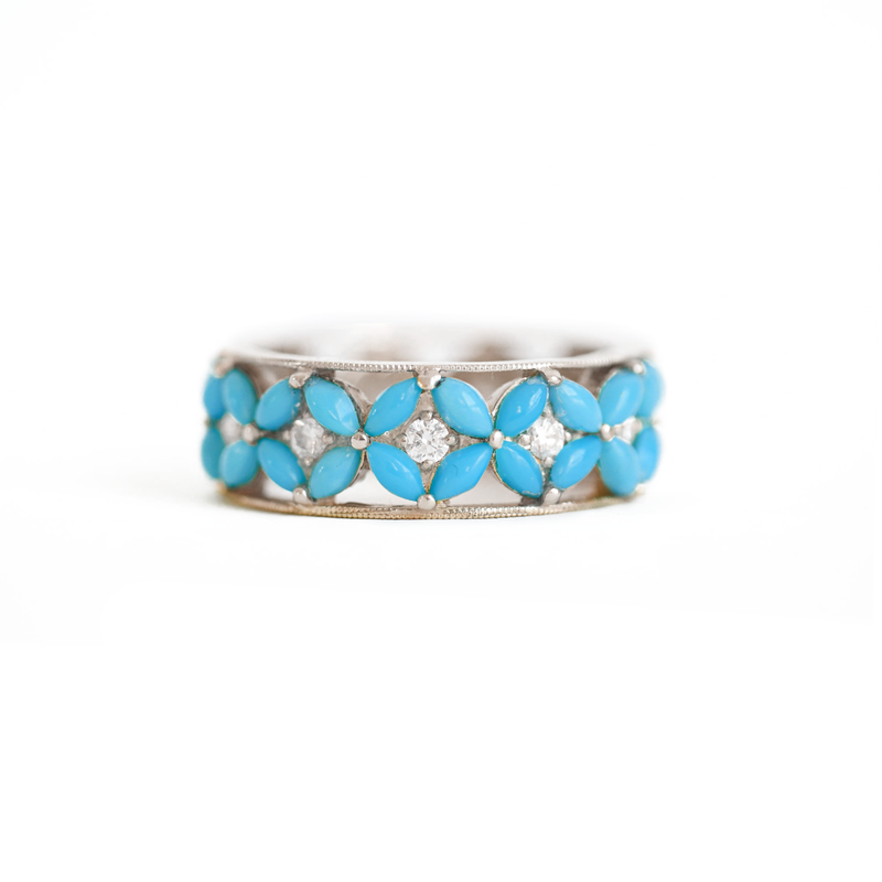 Turquoise Flower Eternity Diamond Ring