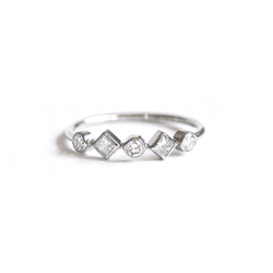 Princess and Round Diamond Line Ring