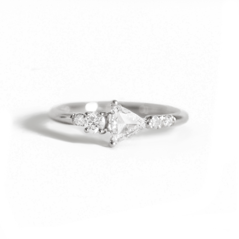 Trillion Rose Cut Cluster Diamond Ring