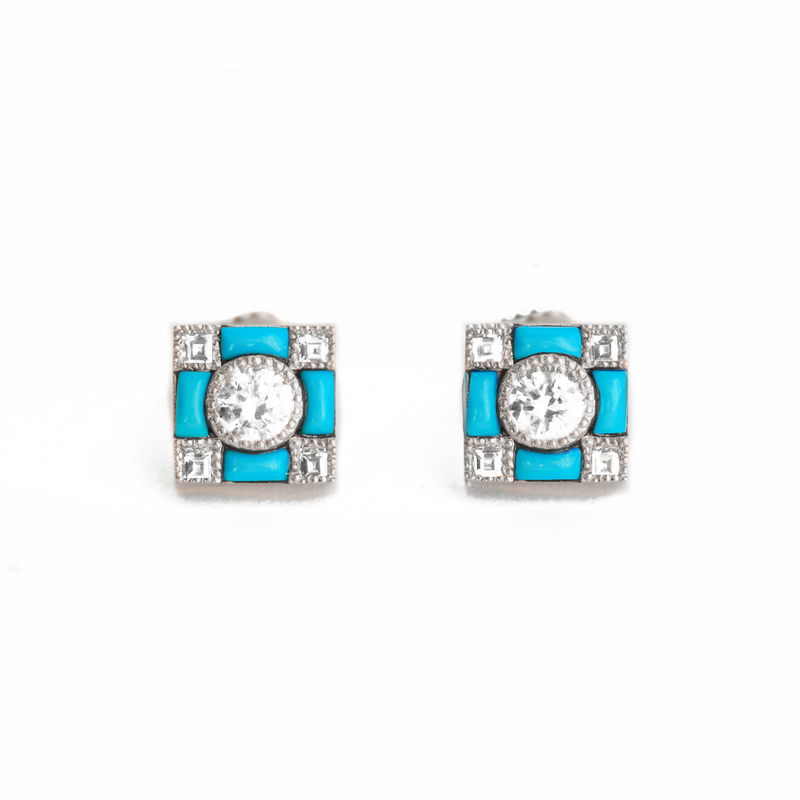 Art Deco Turquoise Diamond Stud Earrings