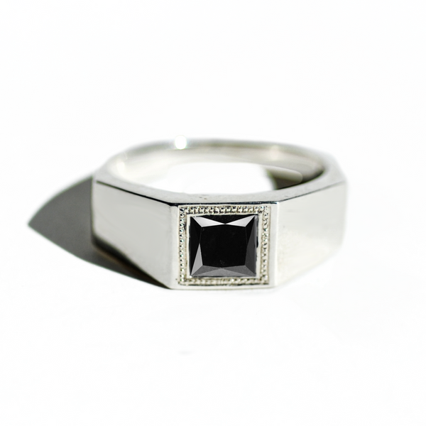 Princess Cut Black Diamond Deco Ring