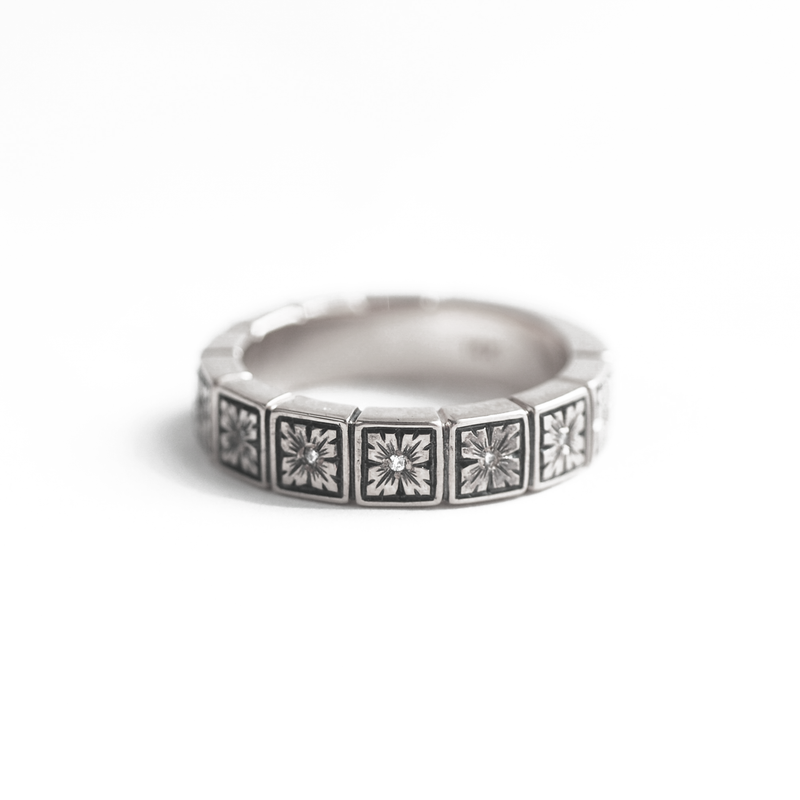 5mm Art Deco Engraved Notched Diamond Band Ring