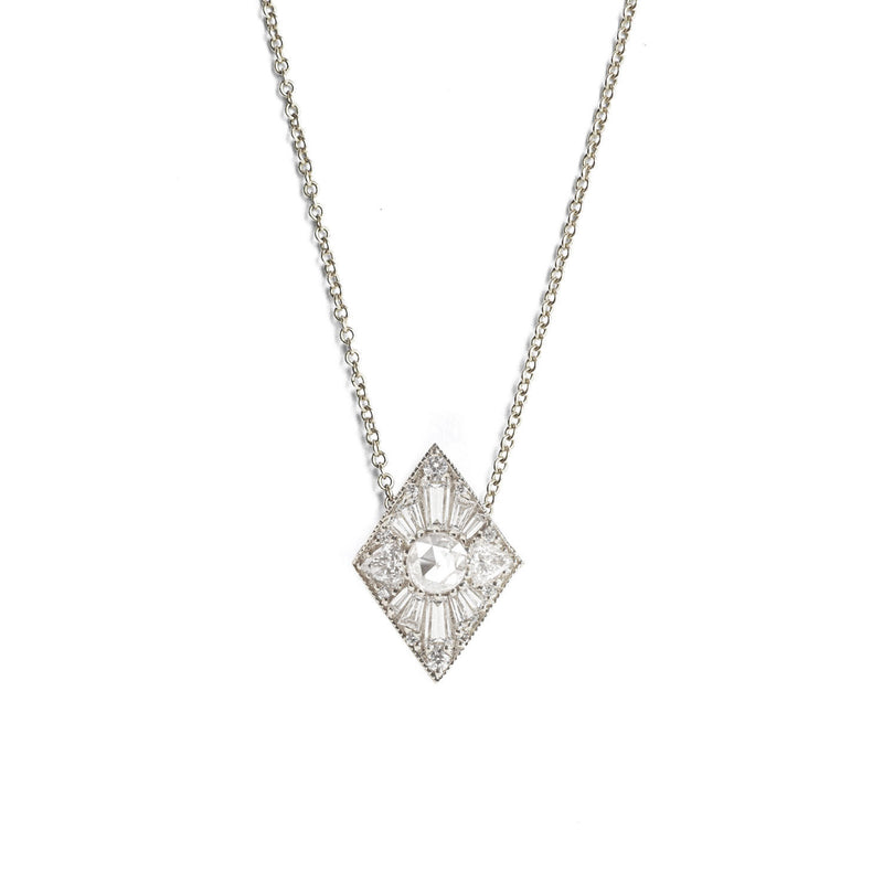 Mini Kite Shape Round Diamond Necklace
