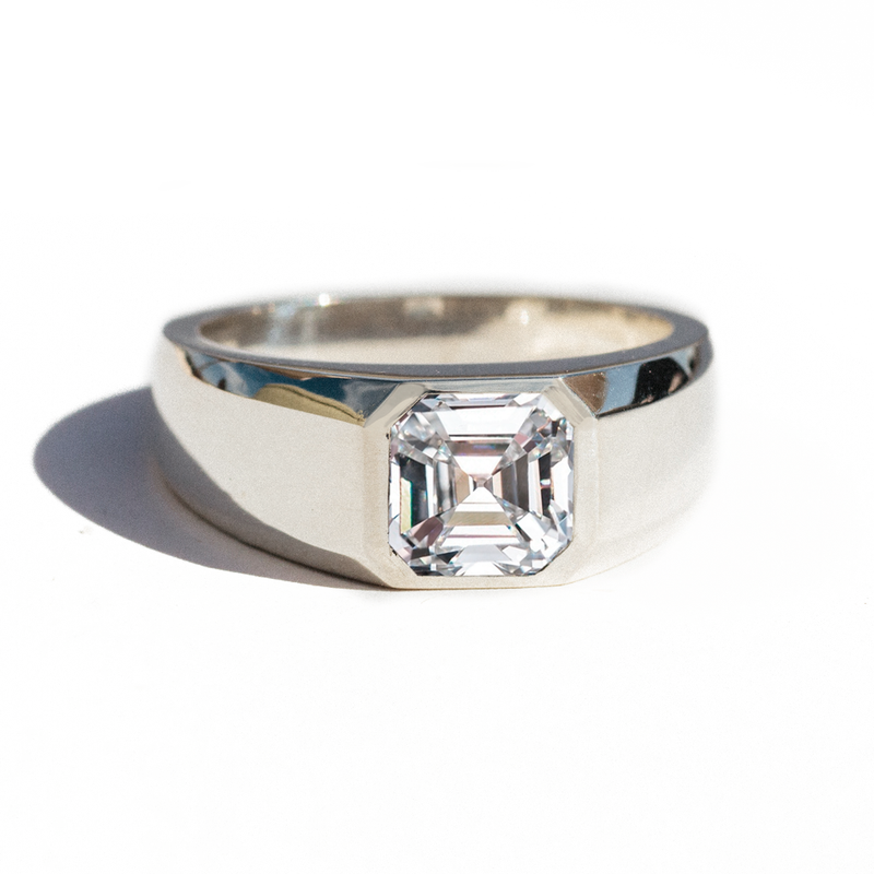 Asscher Cut Moissanite Signet Ring