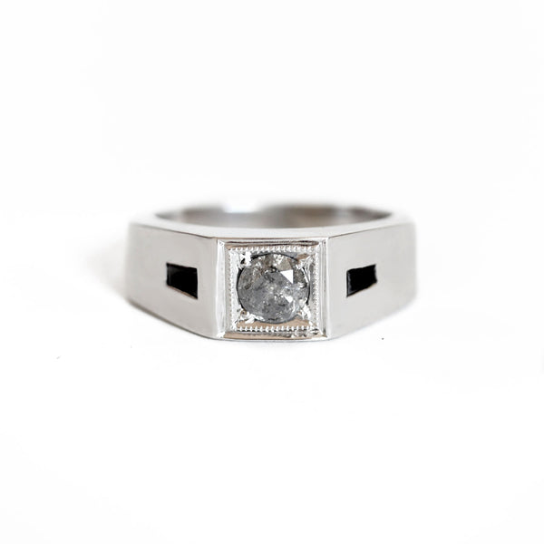 Deco Salt and Pepper Diamond Men's Engagement Ring