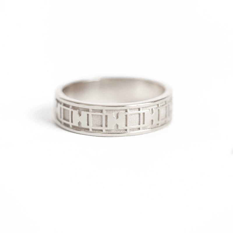 Deco Window Pattern Band Ring