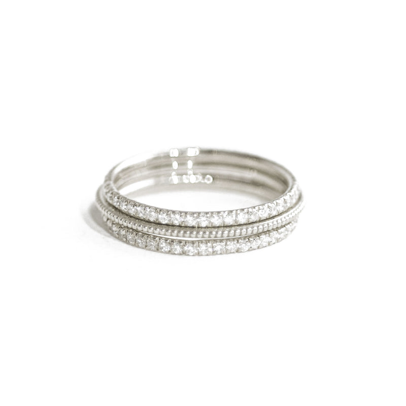 Pavé Eternity Diamond & Beaded Gold Stacking Ring Set
