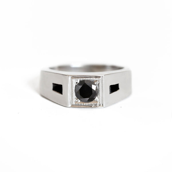 Deco Black Diamond Men's Engagement Ring