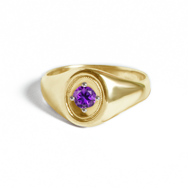 Oval Deco Purple Amethyst Ring