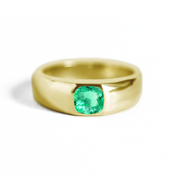 Cushion Emerald Signet Ring