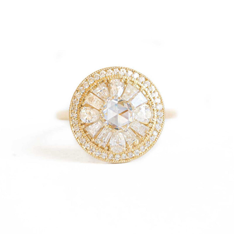 Pear & Round Rose Cut Halo Diamond Mosaic Ring