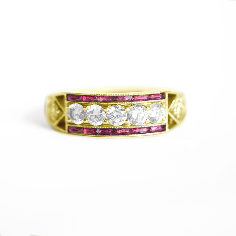 Art Deco Five Diamond Ring with French Cut Rubies