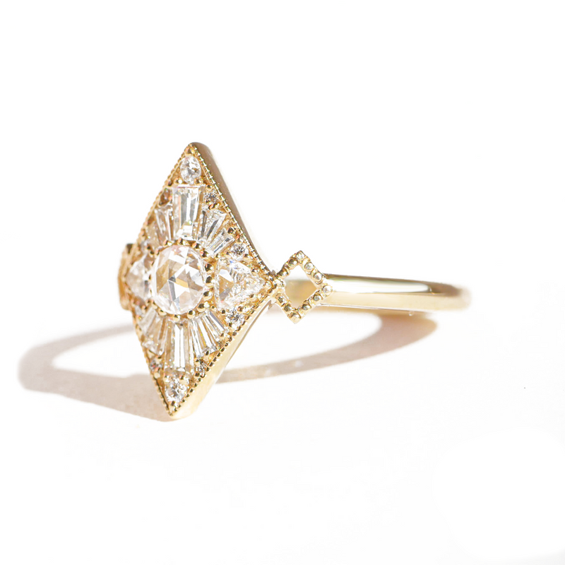 Mini Kite Shape Round Rose Cut Diamond Mosaic Ring