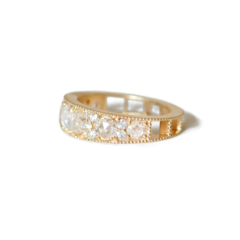 Rose Cut Moissanite Mosaic Line Ring