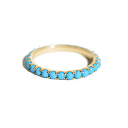 Gold Turquoise Eternity Band Ring