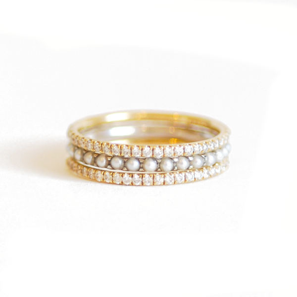Pavé Eternity Diamond & Pearl Stacking Ring Set