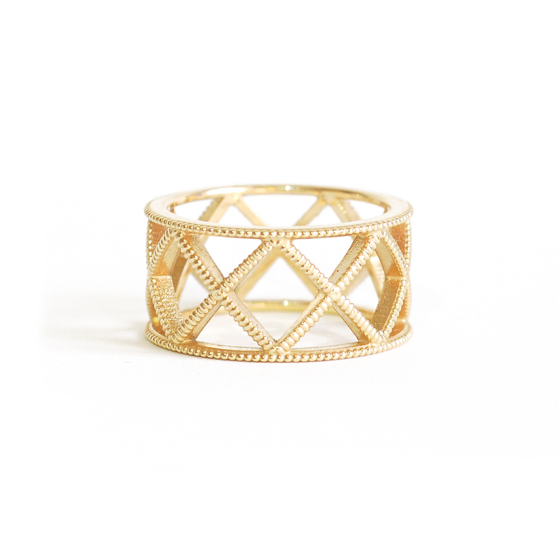 Beaded Gold Criss Cross Ring