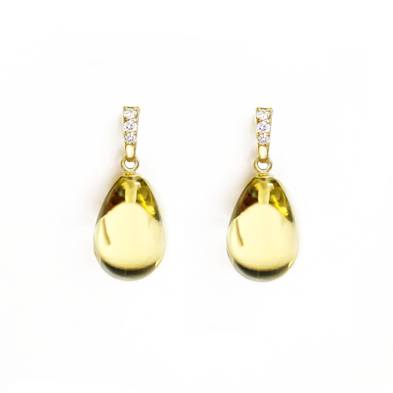 Lemon Quartz Diamond Drop Earrings