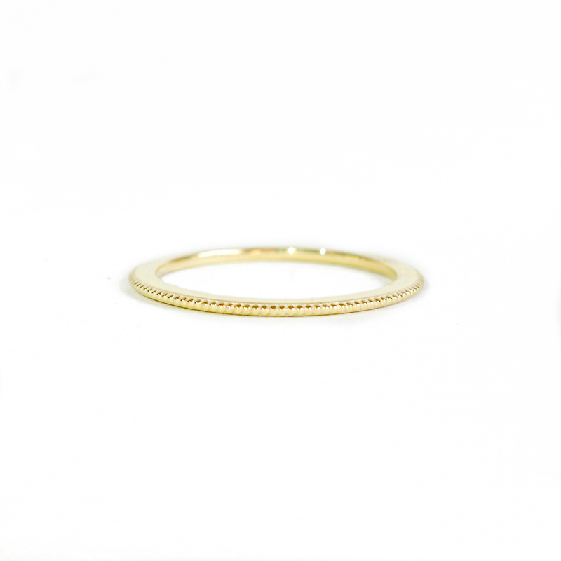 Beaded Gold Stacking Ring