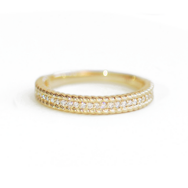 Gold Rope Diamond Ring