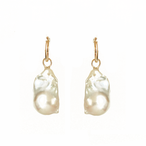 Large Baroque Pearl & Gold Hoop Earrings