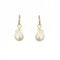 Small Baroque Pearl & Gold Hoop Earrings
