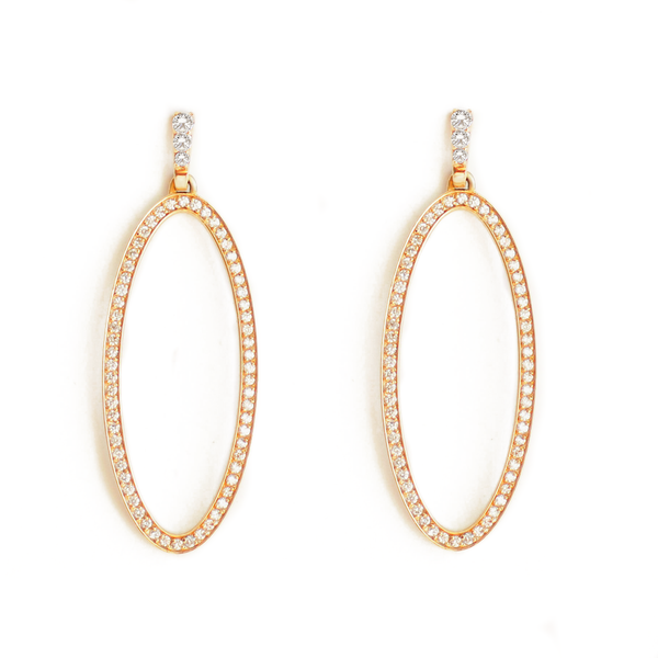 Diamond Oval Drop Earrings