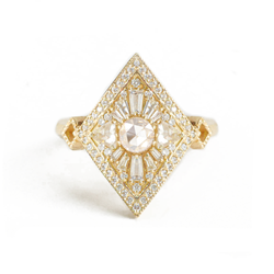 Kite Shape Round Rose Cut Diamond Mosaic Ring