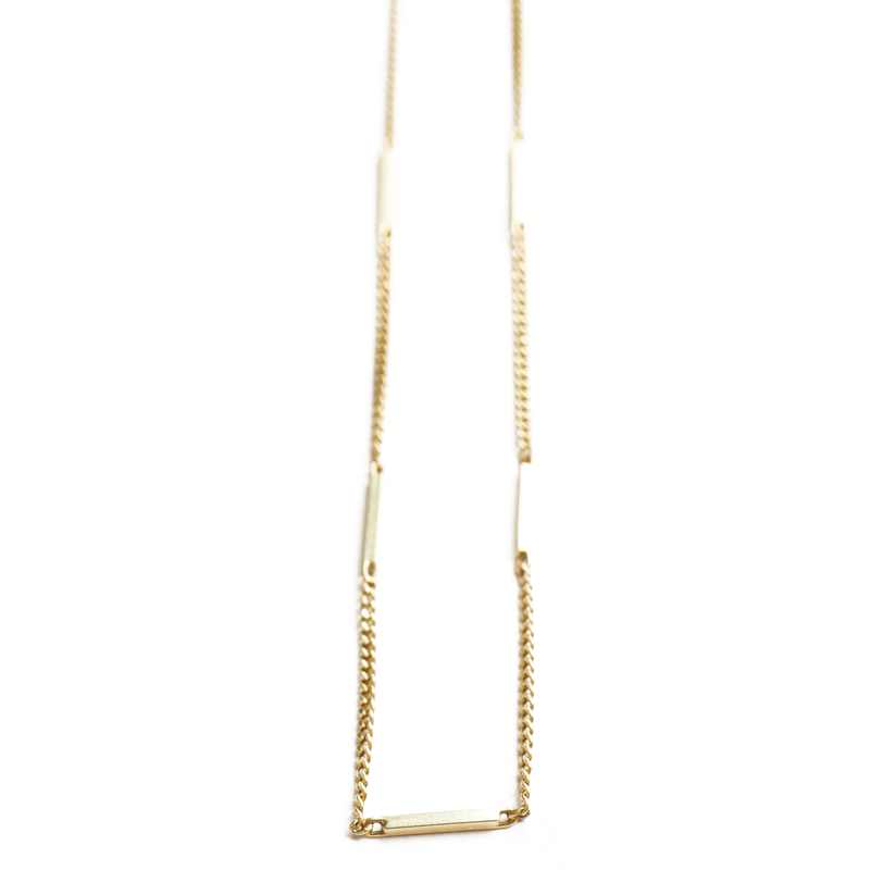 Gold Bar Chain Necklace