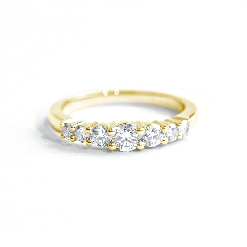 Tapered Diamond Line Ring