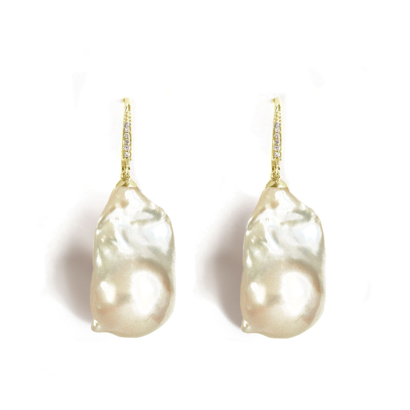 Large Baroque Pearl & Diamond Earrings