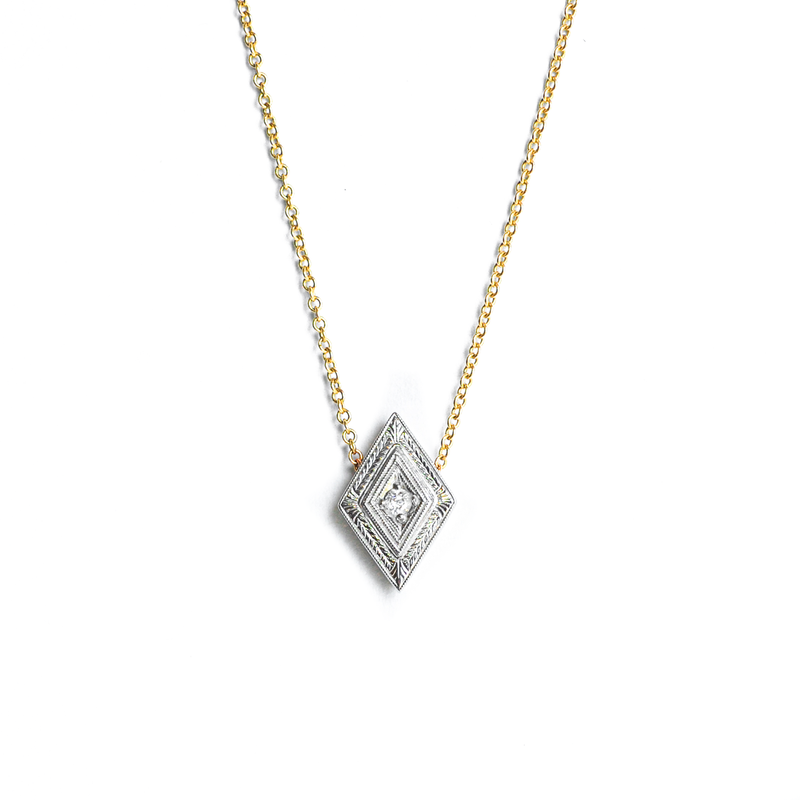 Engraved Diamond Pendant
