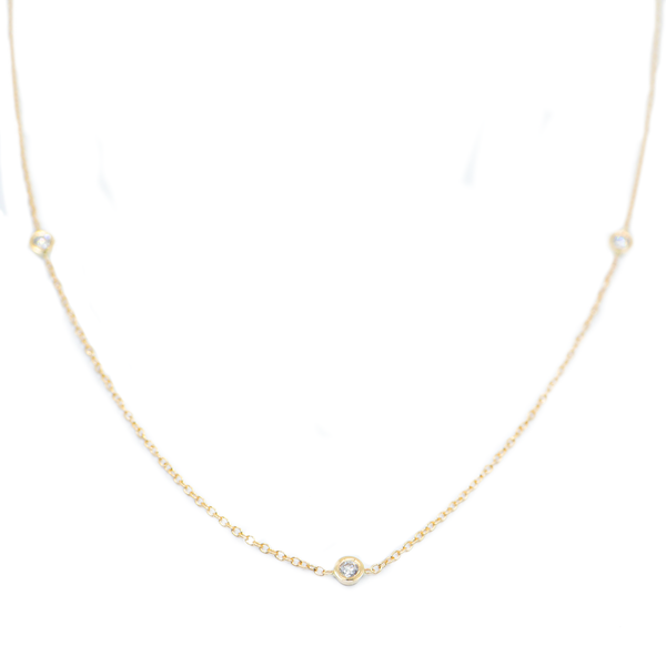 Gold Choker Diamond Bezel Necklace