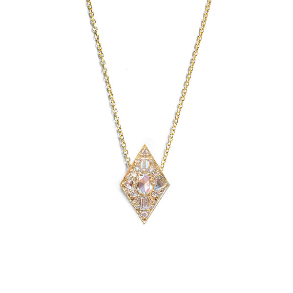 Mini Kite Shape Oval Diamond Necklace