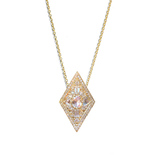 Large Kite Shape Oval Diamond Necklace